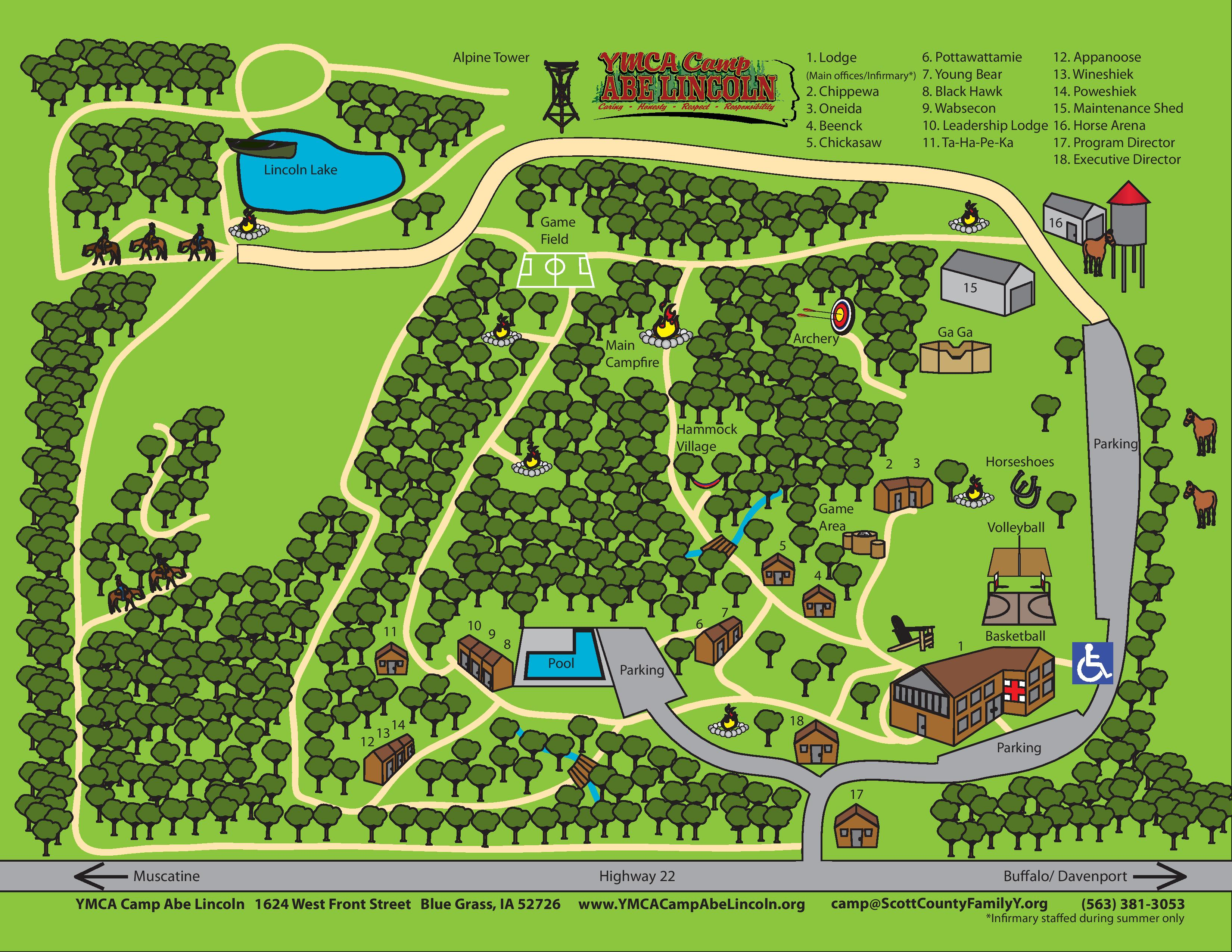 Camp Map Ymca Camp Abe Lincoln